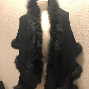 Faux fur sweater cape by 2 Chic one size